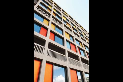 The cladding was transformed by replacing the original brickwork with anodised aluminium panels.